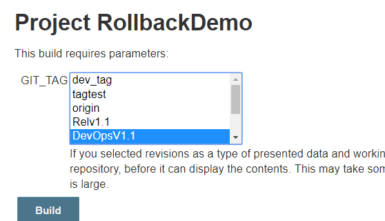 USING GIT PARAMETER PLUGIN OPTION TO ROLLBACK A BUILD